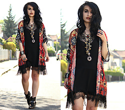 Tessa Diamondly - New Chic Kimono, Lace Slip Dress, Spell Designs Gypsy Rocker Boots - Even a white rose has a black shadow.