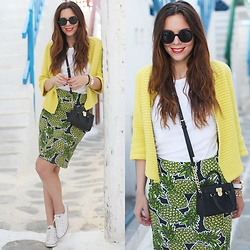 Irene's Closet - Vintage Cardigan, Converse Sneakers, Emporio Armani Sunglasses, H&M Skirt, Michael Kors Bag - Citrusy colours for a summer look