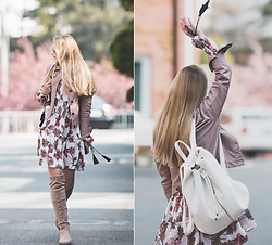 Olga Choi - Romwe Floral Dress, Deux Lux Backpack - F for Florals