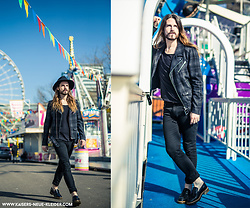 Maik - Brixton Hat, The Kooples Bikerjacket, Scotch & Soda Denim, Tiger Of Sweden Shirt, Office London Shoes - Casual with bikerjacket