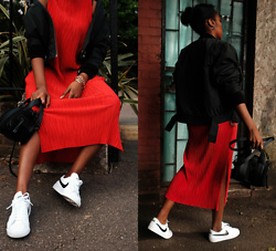 Remi Afolabi - H&M Pleated Dress, Nike Sneakers, Topshop Small Bag, H&M Trend Bomber Jacket - Daring in Red