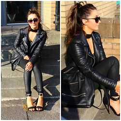 Terri L - Vero Moda Jacket, Mango Jeans, River Island Shoes, Missguided Bodysuit - ALL BLACK EVERYTHING