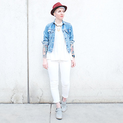 Jessie Bee - Oxblood Hat, Levis Vintage Denim Jacket, Urbn Sample Sale Flowing Top, Cheap Monday White Denim, Cat Footwear Liza Boots In Panda - Spring Whites