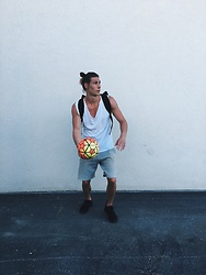 Richy Koll - Nike Sneakers, H&M Short Pants, H&M Tee, Urban Outfitters Backpack - K. I. D.