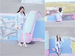 Stefanie - H&M Pink Blouse, H&M Mint Bomber Jacket, Dune Pink Clutch With Pom Pom, Asos Pumps, Hollister Light Washed Jeans - Candy color crush