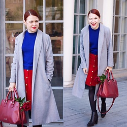 Jenny Danilkova - Sheinside Coat, Topshop Jumper, Beyond Retro Skirt, Bimba&Lola Bag - Grey coat