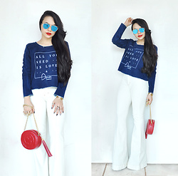Clara Campelo - Zerouv Sunnies, Top, Flare Pants - All you need is love & Denim!