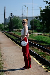 Bari Bircak - Zara Crop Top, Reserved Pants, H&M Purse, Sempre Shoes - Red 70s pants