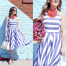Jenn Lake - Kate Spade White Rimmed Sunglasses, Fairchild Baldwin Coral Beaded Necklace, Eliza J Stripe Fit And Flare Dress, Kate Spade Colorful Stripe Bag, Sam Edelman Lace Up Sandals - Stripe Fit Flare Summer Dress