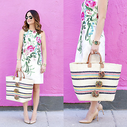 Jenn Lake - Ray Ban Aviator Sunglasses, Eliza J Floral Shift Dress, Tory Burch Gold Watch, Mar Y Sol Multicolor Stripe Woven Tote, Manolo Blahnik Nude Patent Point Toe Pumps, Cartier Gold Bracelet - Floral Spring Shift Dress