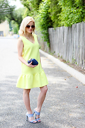 Kim Tuttle - Forever 21 Suede Mule, Kayu Design Clutch, Sheinside Yellow Dress - Hello yellow