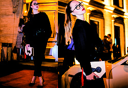 Mary Ryabich - Unicorn Showroom Sweatshirt, H&M Pants, Alba Heels, Asos Clutch, Dressin Glasses - Nightout