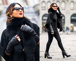 The Ambitionista - Michael Kors Wool Bolero, Tom Ford Sunglasses, Tods Ankle Boots - Blacks Charm
