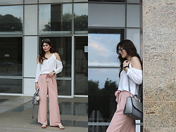 Diana Ior - Asos Cold Shoulder Top, Stradivarius Palazzo Trousers, Stradivarius Flat Sandals, Asos Croco Bag, H&M Bag Bug, Primark Sunglasses - Stardust