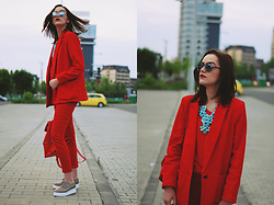 Andreea Birsan - Christian Dior So Real Sunglasses, Mango Red Blazer, H&M Necklace, Zara Red Top, Mango Red Trousers, Jolly Chic Red Backpack, Nude Platform Shoes - The urban red outfit II