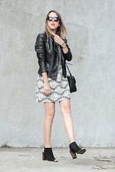 Raquel Cañas - Zara Leather Jackey, Vero Moda Skirt - IN PRINTS I GO