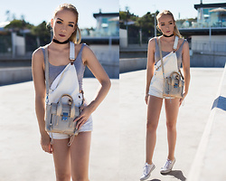 Silver Girl - H&M White Dungarees, 3.1 Phillip Lim Golden Pashli, Asos Crop Top, Converse White All Star - FIFTH AVENUE