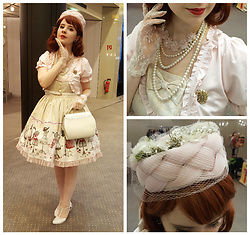 Lacy Dottie - Vintage Pillbox Hat, 50s, Dreamv Bolero, Lace Gloves, 60s, Metamorphose Lace Up Doll Dress, Vintage Bag, Kotyl Shoes - Sweet elegance