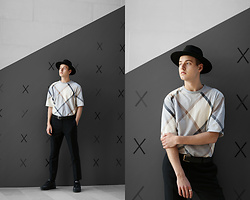 Patrick Pankalla - H&M Fedora Hat, Weekday Oversized T Shirt, Tiger Of Sweden Trousers, Nike Sneakers, Matinique Leather Belt - Oversized Checked Print