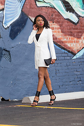 Louisa Moje - Tobi White Tuxedo Blazer Dress, Iman Platinum Black Glass Beaded Asymmetrical Cluth, Report Black Glass Beaded Stiletto Sandals, Black Tube Top - Tuxedo Blazer Dress with Glass beaded sandals