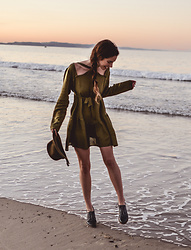 Elle-May Leckenby - Cross Over Khaki Dress, Brixton Hat - Olive clothing
