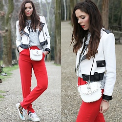 Irene's Closet - Aniye By T Shirt, Aldo Bracelets, Aniye By Trainers, Milly Trousers, Vintage Jacket, Motivi Bag - Red, white and black