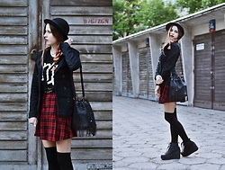 Ola Brzeska - Terranova Hat, Sinsay Virgo T Shirt, H&M Military Jacket, H&M Tartan Skirt, New Look Tassel Bag, Altercore Leather Boots - Virgo