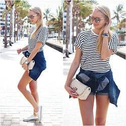 Madara L - Jimmy Choo Mirror Sunglasses, H&M Striped Shirt, Ebay Denim Jacket, Ebay Quilted Bag - Sailor kind of outfit
