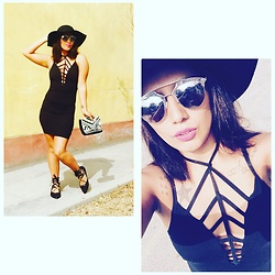 Carla M. Cabrera Aguayo - Vestido Candyrave, Dolls Kill Shoes Lace Up, H&M Manite, Doit Hat, Gucci Sunglases - #candyravelovers