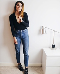 Georgie J - American Apparel Bodysuit, Topshop Girlfriend Jeans, Asos Boots - Smart Casj