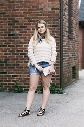 Britnie Harlow - Amuse Society Fringe Sweater, American Eagle Outfitters Indigo Bandana, American Eagle Outfitters Ripped Cut Offs, Santee Alley, La Strappy Sandals - Go indigo.