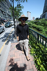 INWON LEE - Byther Beige Wide Brim Felt Fedora Hat, Byther Black Henley Neck T Shirt, Byther Smokey Gray String Detail Pants - Classic Urban Style