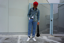 Dan Pantoja - American Apparel Red Cuffed Beanie, Topman Shearling Denim Jacket, Wrangler Light Wash Vintage Jeans, Common Projects White Low Achilles - CANADIAN STREET TUX Δ
