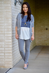Kimberly Kong - Madewell Lightweight Cardigan, Rdstyle Striped Tee Shirt, Jwholesale Pendent Statement Necklace, Vince Skinny Jeans, Wild Diva Gray Heels - Stitch Fix: Part 2