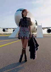The wardrobe of Ms. B - Self Portrait Dress, Armani Collectione Feather Jacket - Match made in Hel
