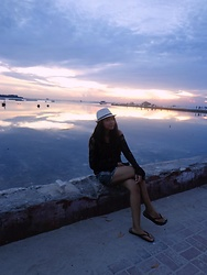 Emi Riani - None Fedora Hat, Unknown Black Lace Top, Unknown Jeans Shorts, Ruby Sandals - Sunset Seeker