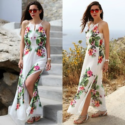 Irene's Closet - Bershka Dress, Sarenza Shoes, Swarovski Jewellery, Spektre Sunglasses - Floral maxi
