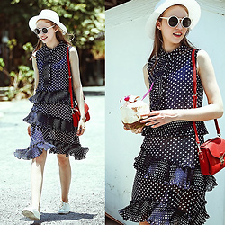 Johonna R. - The Other Sparrows Ruffle Polka Dots Shirt Dress - Polka Dots
