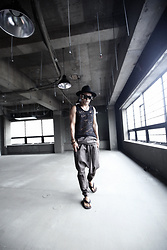 INWON LEE - Byther Black High Mountain Felt Fedora Hat, Byther Grunge Hole Custom Black Sleeveless Shirt, Byther Strap Detail Grey Linen Baggy Pants - Secluded