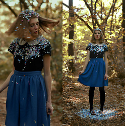 Laurielle Haze - Pepaloves Blue Midi Skirt - The Forest Party