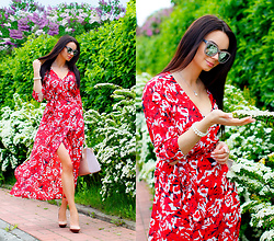 Anna Mour ♥ - Romwe Red Flowers Wrap Dress - Wrap me Up