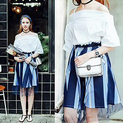 Johonna R. - The Other Sparrows Off Shoulder Oversize White Blouse, The Other Sparrows Stripe Tulle Skirt - Blue and White