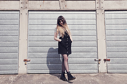 Amy Souter - H&M Black Pinafore Dress, Dr. Martens Patent Leather Dr, Primark Off The Shoulder Striped Crop Top, Primark Round Sunglasses - Summer Dreams