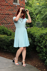 Jamie Rose - Tobi Sky Blue Jersey Knit Dress, Forever 21 White Block Heel Sandals, Stella & Dot Silver Beaded Necklace, Forever 21 White Polka Dot Sunglasses - Comfy Blue Dress