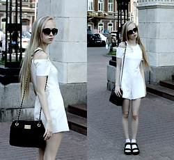 Eliza Modex - Spectacles, H&M Boots, Bag, Zara Dress - White crow