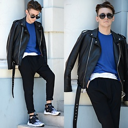StreetFashion101 - Zara Jacket, New Yorker Sweater, H&M Pants, Reebok Furylite - Pop of Blue