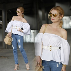 Daria Darenia - Romwe White Romantic Top, Romwe Ripped Jeans, Stradivarius Nude Sandals - Ripped Jeans