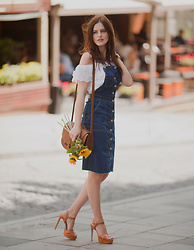 Viktoriya Sener - Wearall Denim Dress, H&M Bag, Sante Shoes Sandals, Sheinside Blouse - DENIM DRESS