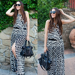 Irene's Closet - Noshua Dress, Balenciaga Bag, Asos Sunglasses, Sarenza Sandals - Zebra stripes