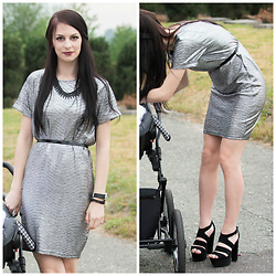 Klaudia - Reserved Silver Dress, New Look Sandals, Mango Necklace, Bershka Belt -  m e t a l l i c ... a u n t